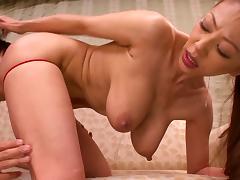 Big tits Japanese milf is flexible when he fucks her cunt