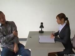 Sex appealing Japanese secretary gets pounded hardcore on her desk by a horny stud