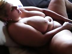 Fat babe with a huge pair of tits masturbates