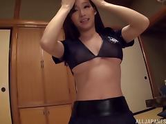 Sexy stocking-clad Asian slut with a hot body enjoying a hardcore vibrator fuck porn tube video