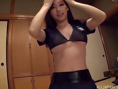 Sexy stocking-clad Asian slut with a hot body enjoying a hardcore vibrator fuck porn tube video