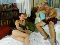 Super sexy brunette MILF is a very hot fuck and loves cum