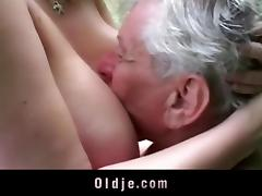 Horny grandpa gets pleased by huge breasted young girl tube porn video