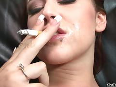 Accepting babe smokes cigar after riding a beefy white cock tube porn video