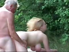 Huge titted sturdy slut fucking horny grandpa tube porn video