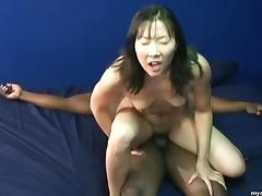 Small tit Asian bitch enjoying her first pulsating black cock porn tube video