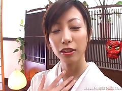 Adorable Japanese vixen moans with pleasure as her hairy cunt gets throbbed porn tube video
