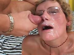Tacky tank top of a sugar mommy gets torn apart by three dudes