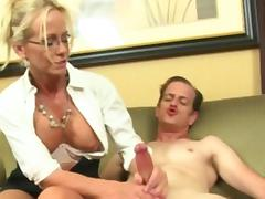 Wanking glamour milf playing with dudes cock porn tube video