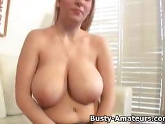 Busty amateur Kalis with her ultra large dildo