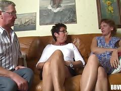 Grandpa and two grannies go crazy in a really old threesome porn tube video