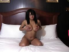 Geeky girl Krista loves masturbating with a toy in bed