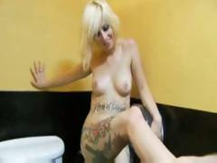 Tattooed blonde cutie gets crammed with a huge white dick tube porn video