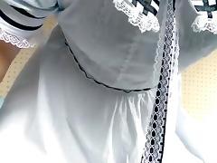 crossdresser wore dress and pad