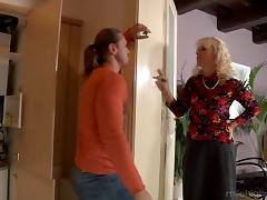 Crazy cougar seduces a younger guy and lets him cum in her mouth