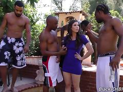 At the end of a party a white girl is fucked and jizzed on by black guys