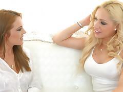 Lesbian blondes have a finger banging good time in bed porn tube video