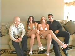 Bald white guy gets head from a horny brunette then fucks her porn tube video