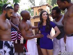A group of black dudes gangbang a white girl and jizz all over her porn tube video