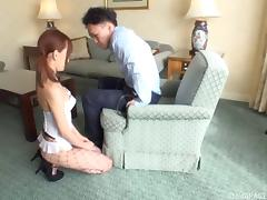 Asian cutie in fishnet stockings and lingerie gets drilled tube porn video