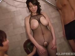 Smutty Asian dame in a fishnet pantyhose moans in pleasure getting some erotic vibrator moments tube porn video