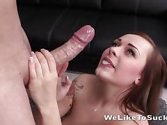 Saucy brunette showered with cum