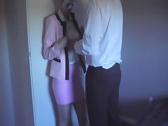 Skirt suit, satin blouse, panties, clothed cum on blouse porn tube video