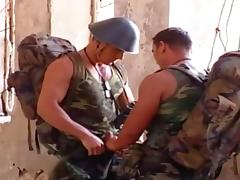 Military dudes decide to have one act the woman and get his asshole banged hard