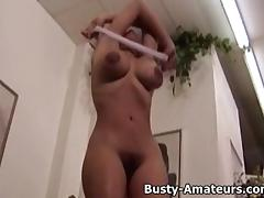 Busty amateur Gia strips showing her hairy pussy tube porn video