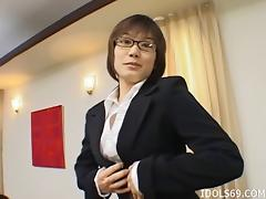 Very giving Asian businesswoman gives her boss some great head porn tube video