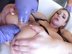 Very bad girls play with toys then share a dude's big cock