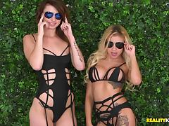 Lingerie wearing lesbians break out the vibrators and get to work porn tube video