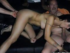 Wild orgy fuck in the theater