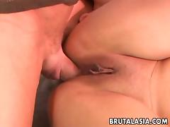 Slutty Asian asshole filled with a dick before she cleans him off porn tube video