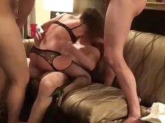 MILF Wife taking on 3 guys