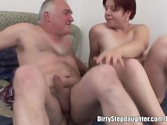 Chubby Redhead Stepdaughter Wakes NOT Stepdad For Fucking