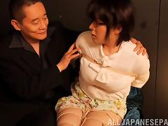 Chubby mature Asian woman tied up and has her cunt vibrated