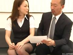 Asian secretary loves pleasing her older boss in the office
