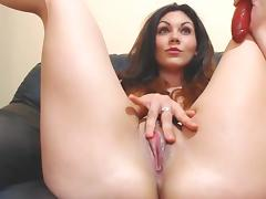 Dildo masturbation and two squirts from big lips