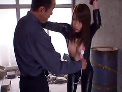 Japanese spy in a latex body suit pays the price after getting caught porn tube video