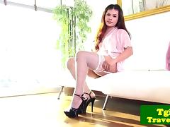 Beautiful ladyboy teases with hot solo show