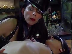 Petite brunette made to serve leather clad dyke