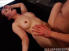 Lewd Japanese milf reaches orgasm as her pink slit gets drilled