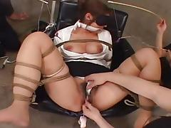 Bound asian gets her pussy teased