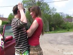Cutie in a short skirt pounded outdoors by her man tube porn video