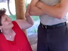 Fat old ladies fucked outdoors by guys with big cocks