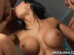 Curvy Asian dark raven has a pair of dicks to pleasure
