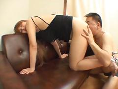 Japanese babe gets licked and drilled in the office at work