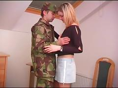 Army guy comes home on leave and fucks his hot girlfriend