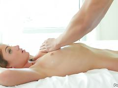 He massages a wicked hot blonde and he has to fuck her